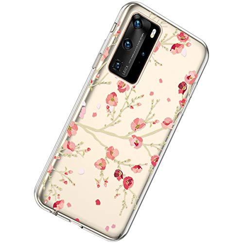 Herbests Kompatibel mit Huawei P40 Pro Hülle Silikon Weich TPU Handyhülle Durchsichtige Schutzhülle Niedlich Muster Transparent Ultradünn Kristall Klar Handyhülle,Kirschblüten