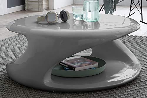 SalesFever Stilvoller Couchtisch Izan | Hochglanz Grau | rund | aus Fiberglas | BxTxH 80 x 80 x 33 cm