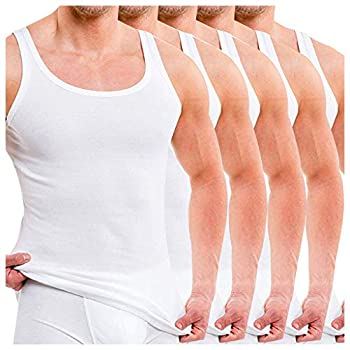 Men s Classic Cotton Undershirt Vest 5-Pack Pure Sleeveless Tank Tops White