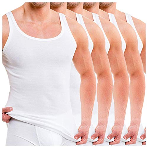 Qinhanjia Herren Unterhemd Aus Reiner Baumwolle mit 5Er Packung und Ärmellosen Trägershirts, Ärmellose Einfarbige Herrenweste Im 5Er Pack