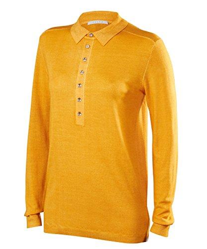 FALKE Damen Golf Langarm Knopfleisten Polo Poloshirt, Mango, XL