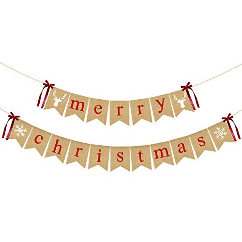 Merry Christmas Jute Burlap Banners- Christmas Party Decorations,Christmas Banner,Vintage Christmas Decorations,Grinch Christmas Decorations, Ugly Christmas Sweater Party Decorations