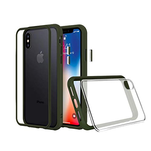 RhinoShield Modular Case Compatible with [iPhone X] | MOD NX - Customizable Shock Absorbent Heavy Duty Protective Cover - Shockproof Graphite Bumper with Clear Back