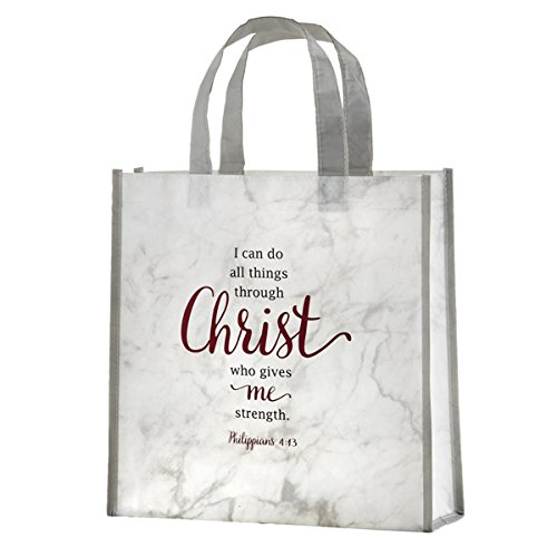 I Can Do All Things Through Christ Laminated Tote Bag with Reinforced Bottom, 12 Inch