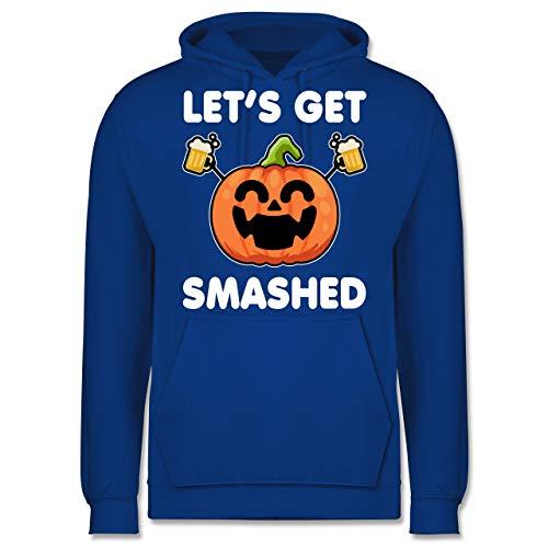 Shirtracer Halloween - Let's get Smashed lachender Kürbis - weiß - XS - Royalblau - Bier - JH001 - Herren Hoodie und Kapuzenpullover für Männer