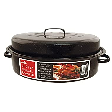 Euro-Ware 1513 Oval Carbon Steel Non-Stick Enamel Roaster with Cover, X-Large/22-25 lb, Black