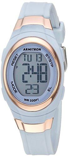 Armitron Sport Women's 45/7034PBL Rose Gold-Tone Accented Digital Chronograph Powder Blue Resin Strap Watch