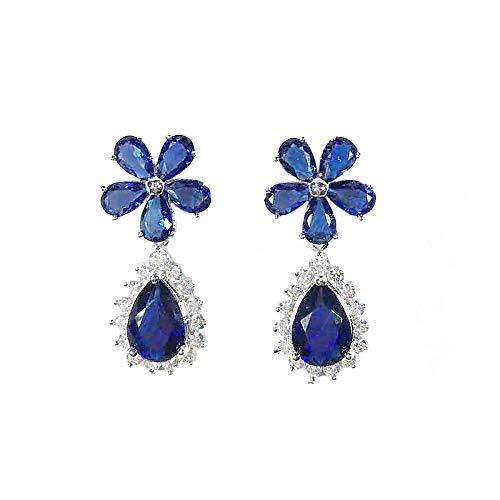 FEARRIN Pendientes Joyería de Boda Colgante Pendientes de Flores de Cristal Femenino Plata Azul Pendientes Blancos Boho Joyería de Boda Pendientes Largos de Zafiro Azul