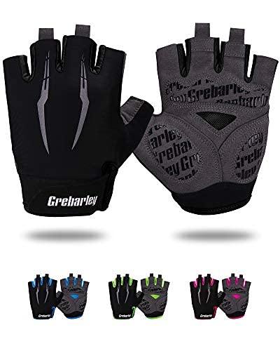 Grebarley Cycling Gloves Bike Gloves Bicycle Gloves Gym Gloves Mountain Road Anti-Slip Shock-Absorbing Gel Pad Light Weight Breathable MTB Biking Gloves for Men Women