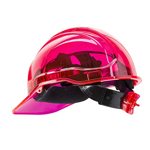 Portwest pv64pir serie PV64pico vista trinquete translúcido duro sombrero casco, Regular, color rosa