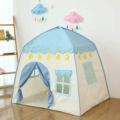 LWKBE Kids Play Tent Castle Großes Tipi-Zelt für Kinder Tragbares Spielhaus Kinderhaus Fort Indoor Outdoor-Einsatz mit Tragetasche für Jungen und Mädchen Pink Blue,Blue