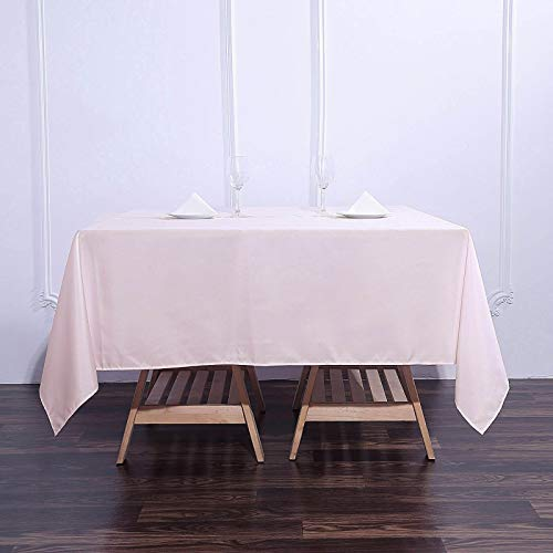 Efavormart 70' Premium Square Polyester Tablecloth for Wedding Kitchen Dining Events - Blush | Rose...