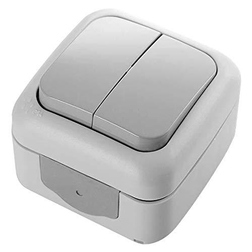 Viko palmiye - Interruptor doble 1 polo 10a 250v ip54 gris