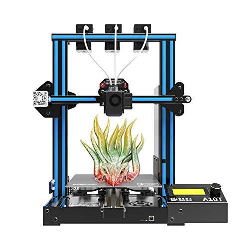 Aibecy Imprimante 3D de bureau Geeetech A10T Support de montage rapide Impression de mélange de couleurs avec tableau de contrôle GT2560 Renouer l'impression Fonction de détection de filament