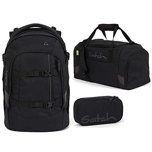 Satch Pack Schulrucksack-Set 3tlg: Schulrucksack, Schlamperbox und Sporttasche (Blackjack)