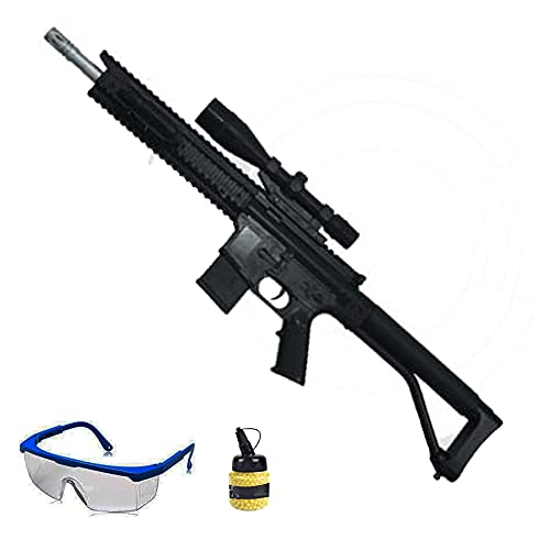 Fusil HY17B (Muelle) | Arma de Airsoft Tipo HK MP5 Calibre 6mm (de Bolas PVC) + biberón + Gafas