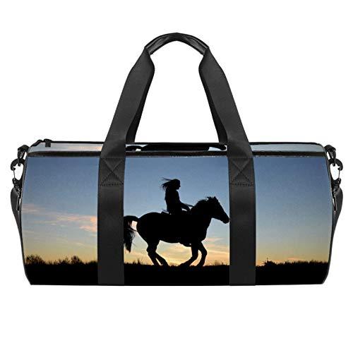 Z&Q Silhouette Cavallo Borsa da Palestra Sportiva con Tasca e Scomparto Bagnato Impermeabile, Borsone da Viaggio per Uomo e Donna Leggero 45x23x23cm
