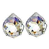 Tong Yue Feng Shui - Juego de 2 colgantes con forma de bola de cristal transparente...