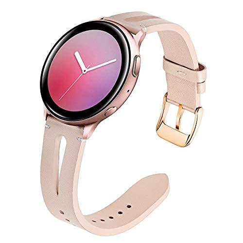 Reemplazo para Galaxy Watch 42mm / Galaxy Watch Strap activo de las mujeres, 20 mm Flower Reloj de cuero genuino de la banda de lanzamiento rápido Correa de acero inoxidable Pulsera para Samsung Galax