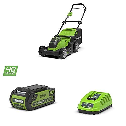Greenworks Cortacésped operado con batería G40LM41 + Batería G40B25 + Cargador de baterías