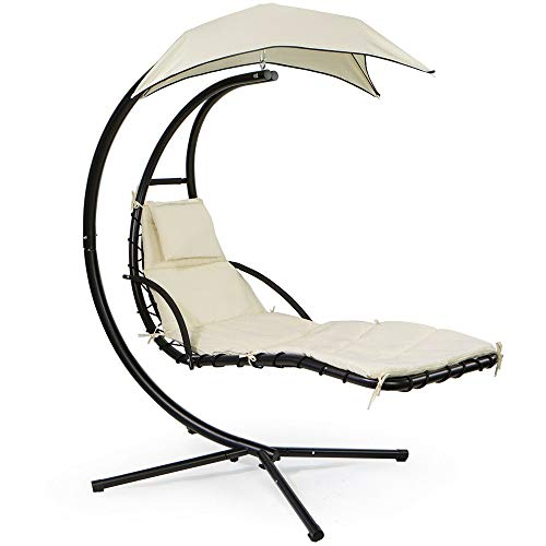 Hypeshops Swing Hammock Chair Patio Hanging Lounger Cushion Chair with Stand