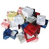 Kurtzy Coffrets Cadeaux Bague Bijoux (Lot de 24) - 3,8 x 2,8cm Boîtes Présentoir avec Intérieur en Velours - Coffrets Cadeaux avec Fentes pour les Bagues et les Boucles d'Oreilles