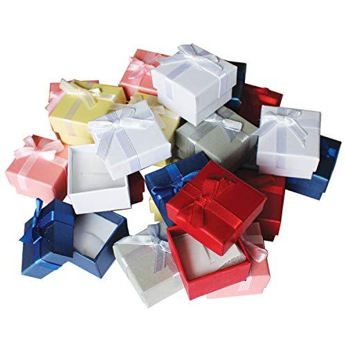 Kurtzy Cajas de Regalos de Anillo (24 Piezas) - 3,8 x 2,8cm Cajas para Joyas con Inserto de Terciopelo - Cajas de Presentación con Diseño de Lazo y Cinta - Caja con Ranura para Anillos y Pendientes
