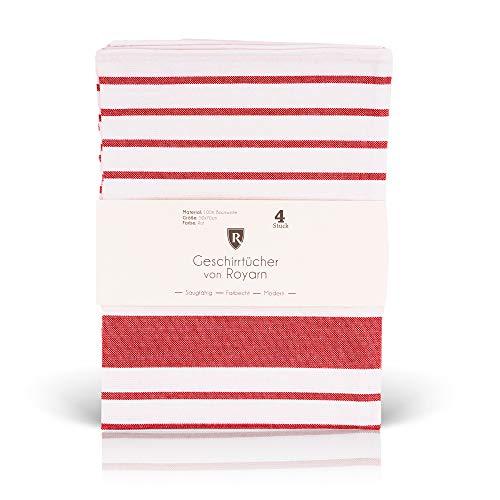 Royarn 4er Set Geschirrtücher Baumwolle - 50x70cm Trockentücher Küche (Rot/Weiß) - Geschirrtuch Weihnachten - Geschirrhandtücher Baumwolle - Abtrockentücher Küche - Küchentücher Baumwolle