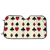 Olive Croft Poker Cards Casino Apuestas Protector para Parabrisas, Protector de Parabrisas Protección UV, Antihielo y Nieve Funda 130 X 70 cm