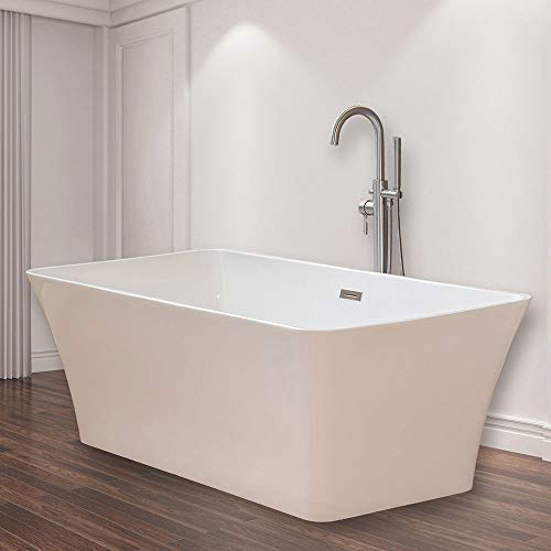 WOODBRIDGE B-0004 White 67' Acrylic Freestanding Bathtub Contemporary Soaking Tub with Brushed Nickel Overflow and Drain, BTS1609
