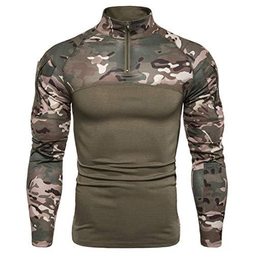 Herren Langarm Hemd Taktisch Militär Armee T-Shirt Paintball Combat Shirt Stehkragen mit 1/4 Reißverschluss Herren Shirt Combat Slim Fit Camouflage Army T-Shirt Militär Uniform mit Ärmeltaschen 3XL