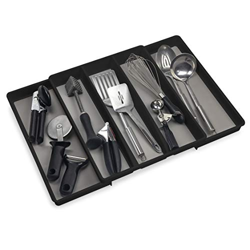 Eltow Expandable Utensil Tray Drawer Organizer - 5-Compartment Kitchen Utensil Holder- Large Plastic In-Drawer Organizer– Multipurpose Adjustable Organizer Tray For Kitchen & Office Supplies - Black