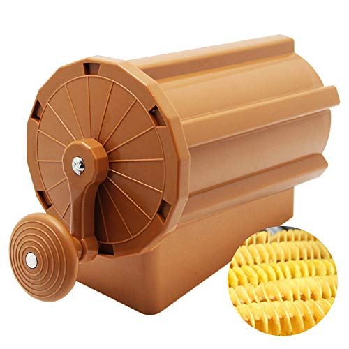 Huanyu Manual Tornado Potato Slicer Cutter Hand Tornado Potato with Sausage Stainless Steel Spiral Potato Chips Making Machine for Sweet Potatoes Carrots Radishes Cucumbers DIY