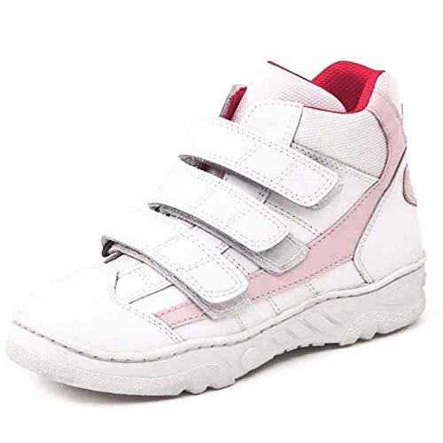 Bota deportiva HORMA RECTA niños CALZAMEDI, PIES PLANOS, piel blanco/rosa, ancho 6,capacidad plantillas. Mod.4117