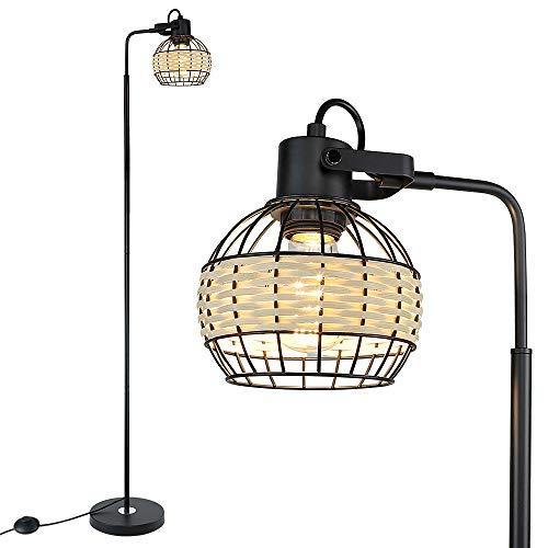 Modern Black Floor Lamp, Eye-Care Tall Standing Lamp for Living Room, LED Floor Light with Adjustable Lamp Holder for Bedroom, Office, Dorm, Vintage Lamp with LED E27 Bulbs, Solid Metal Base