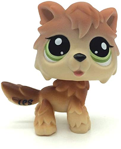 N/N Littlest Pet Shop, LPS Toy Wolf Brown Tan Husky Timberwolf Green Eyes Dog