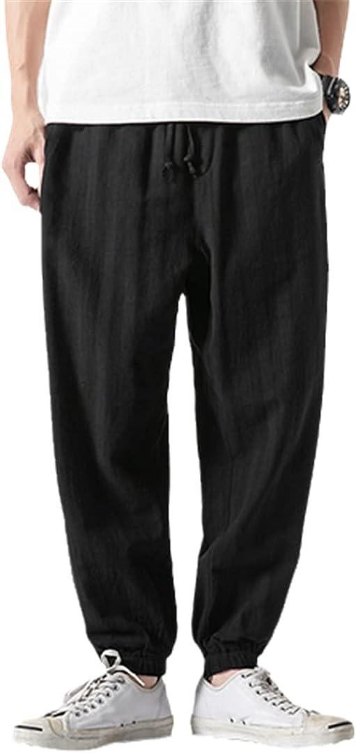 XINDSJDS Men Cotton Linen Harem Pants Jogger Thin Wide Leg Casual Summer Trousers