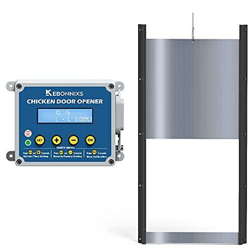 KEBONNIXS Automatic Chicken Coop Door Opener with Timer & Light Sensor, Including Aluminum Door Kit