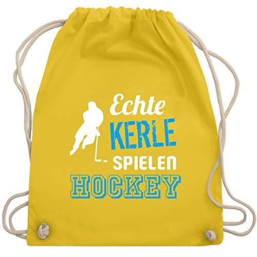 Shirtracer Eishockey - Echte Kerle spielen Hockey - Unisize - Gelb - hockey rucksack - WM110 - Turnbeutel und Stoffbeutel aus Baumwolle