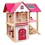 De colores Casa de muñecas, de madera DIY de dos pisos Villa Rosa Bebé Casa de muñecas, rompecabezas del bloque hueco Casa juego de la niña Juguetes for Recuerdos regalo de cumpleaños fuerte atracción