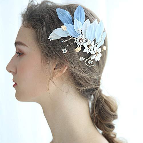 YUKANGI Bruid Crystal Haarspeld Bruiloft Krans Headdress Blauw Zijdeblad Bruiloft Jurk Accessoires Vrouw Hoofddeksels