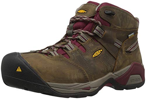 KEEN Utility Women's Detroit XT Mid Steel Toe Waterproof Work Boot, Black olive/tawny red, 8.5