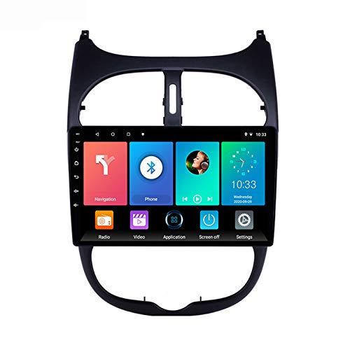Android Radio De Coche Bluetooth, FM Radio Autoradio, Apoyo Llamadas Manos Libres/1080P Video/WiFi/AUX Entrada, para Peugeot 206 2000-2016 con Cámara De Visión Trasera,Quad Core,WiFi 1+16