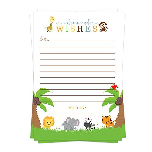 Cute Jungle Advice Cards (25 Pack) Baby Shower Games - Well Wishes - Birthday Time Capsule Ideas – Royal Prince - Zoo Animal Party Supplies - Boys or Girls