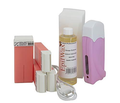 Epilwax Kit Depilacion Calentador de Cera Roll On Tibia Fundidor Electrico Profesional Easy Wax Depilación con Bandas : con 4 Cartuchos roll-on de Cera Rosa de 100 ml, 1 Paquete de 100 Bandas Depilatorias y una botella de 250 ml de aceite post- Depilacion (Modelo Solo 4 Rosa)