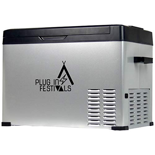 PLUG IN FESTIVALS ® Kompressor Kühlbox 12V 230V   [40 Liter] elektrische Kühlbox   Camping Kühlschrank   Kühlbox Auto oder LKW