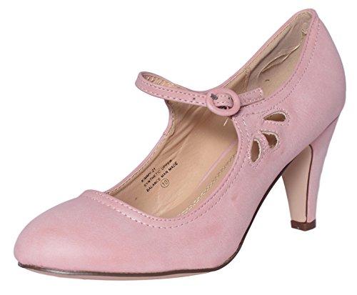 Chase & Chloe Kimmy-21 Damen-Pumps mit rundem Zehenbereich und durchbohrtem Mittelabsatz, Mary Jane Style, Pink (rose pink), 36.5 EU