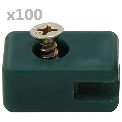 vidaXL Spanndrahthalter mit Schraube 100 Sets Maschendraht Spanndraht Drahthalter Maschendrahtzaun Zäune Zaunzubehör Grün Kunststoff