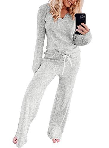 CORAFRITZ Women's Casual Knit Lounge Set V Collar Long Sleeve Top Solid Color Wide Leg Drawstring Pants Pajamas Set Sleepwear Color Gray Size X-Large