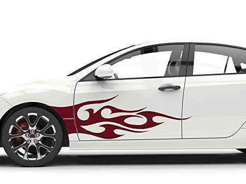 GrazDesign Autosticker, zijstickers, tribal stickers, autotattoo cartattoo vlammen 2St. je 200x57cm 078, bladgroen